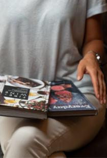 Books on lap